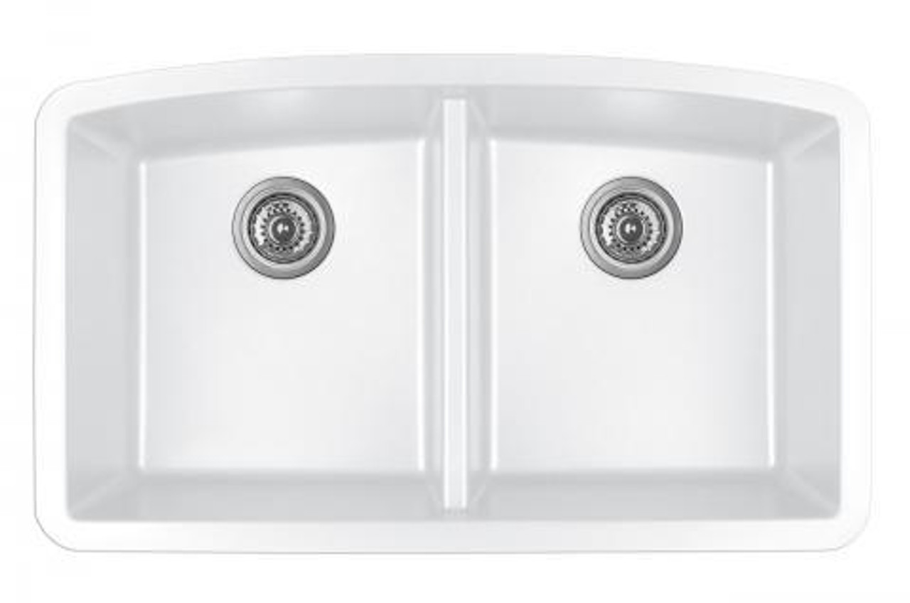 Karran Double Equal Bowl Undermount Kitchen Sink White Finish 32 1 2 X 19 1 2 Qu 710 Royal Bath Place