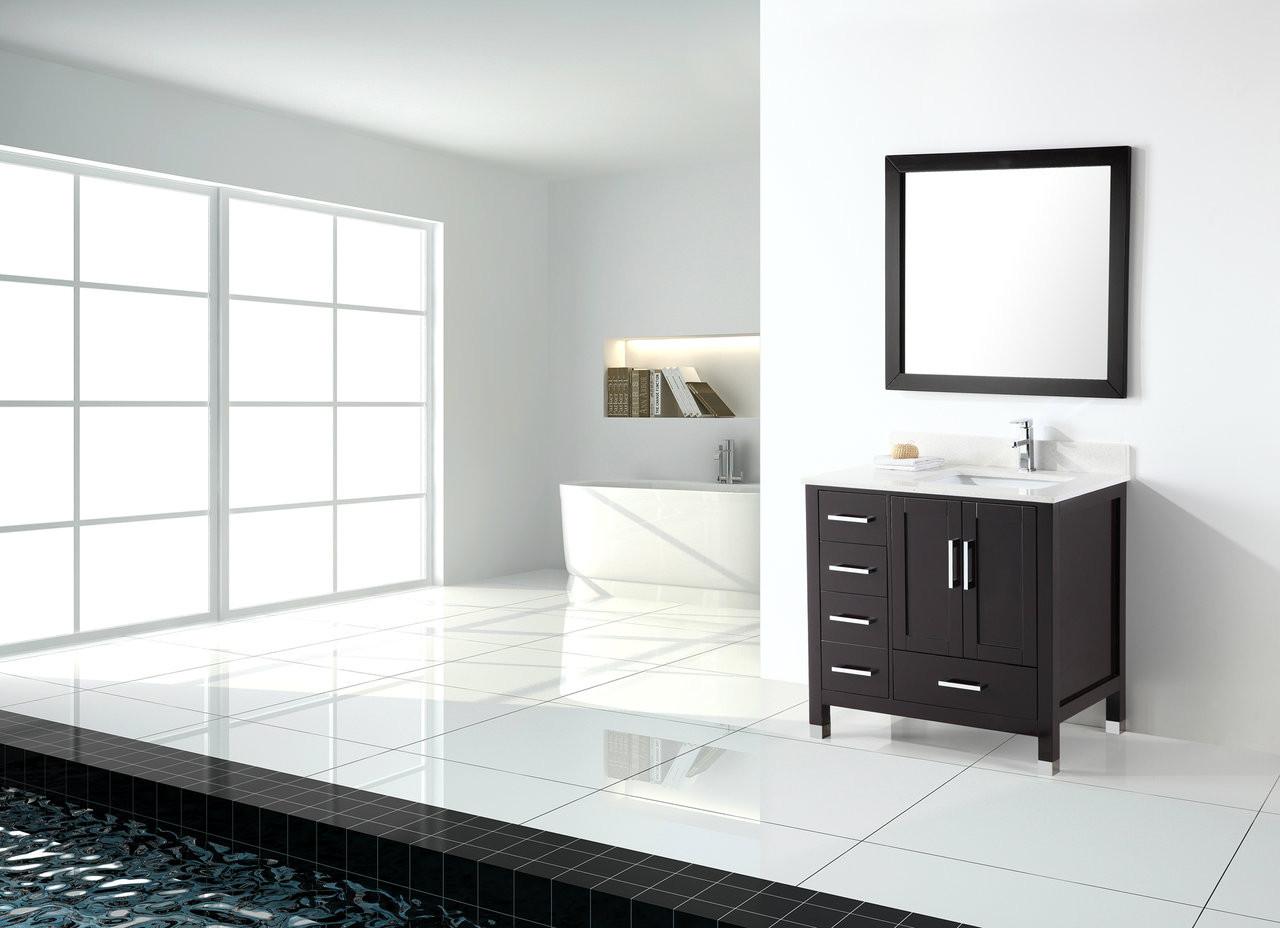 Palmera 42 Espresso Offset Right Sink Bathroom Vanity Royal Bath Place