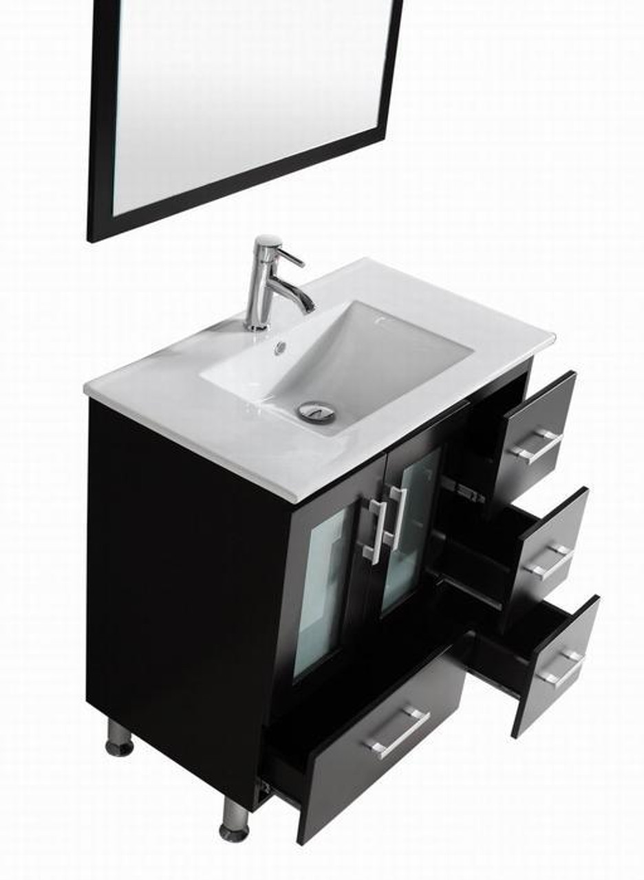 Luxe 32 Inch Espresso Bathroom Vanity With Ceramic Top On Sale Royal Bath Place