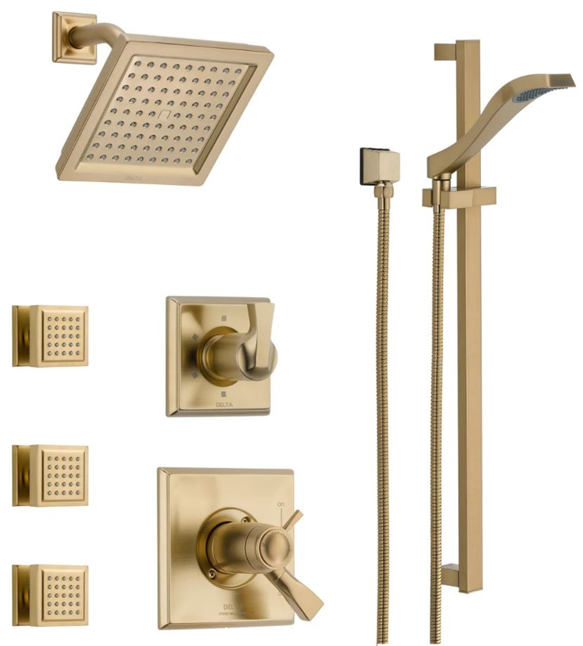 Delta Tempassure 17t Series Thermostatic Shower System With Integrated Volume Control Shower Head 3 Body Sprays And Hand Shower Includes Rough In Valves Royal Bath Place