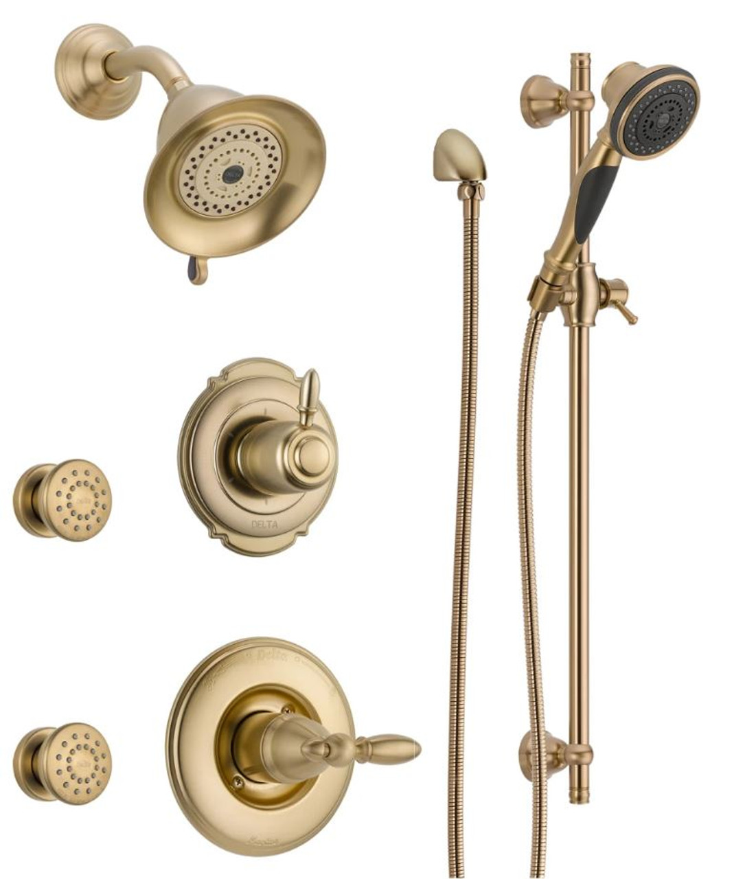 Delta Monitor 14 Series Single Function Pressure Balanced Shower System With Shower Head 2 Body Sprays And Hand Shower Includes Rough In Valves Victorian Royal Bath Place