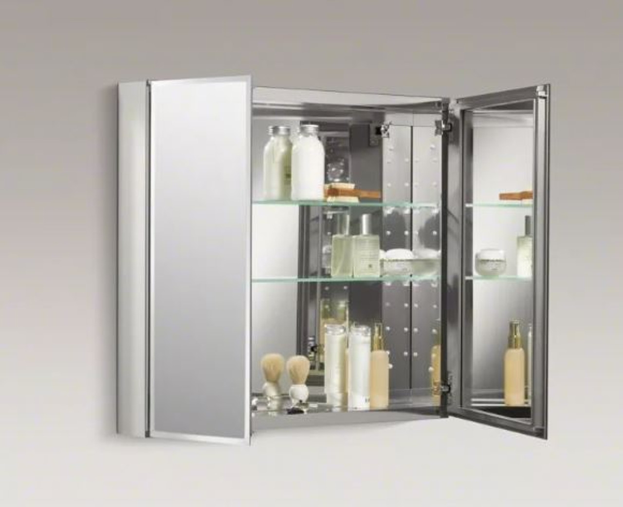 Picture of: Kohler 30 X 26 Double Door Reversible Hinge Frameless Mirrored Medicine Cabinet Royal Bath Place