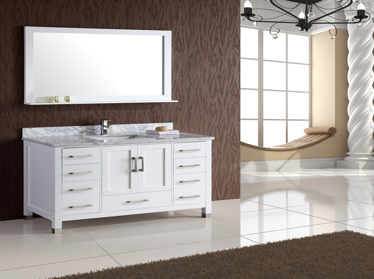 Armada 52 White Single Sink Bathroom Vanity
