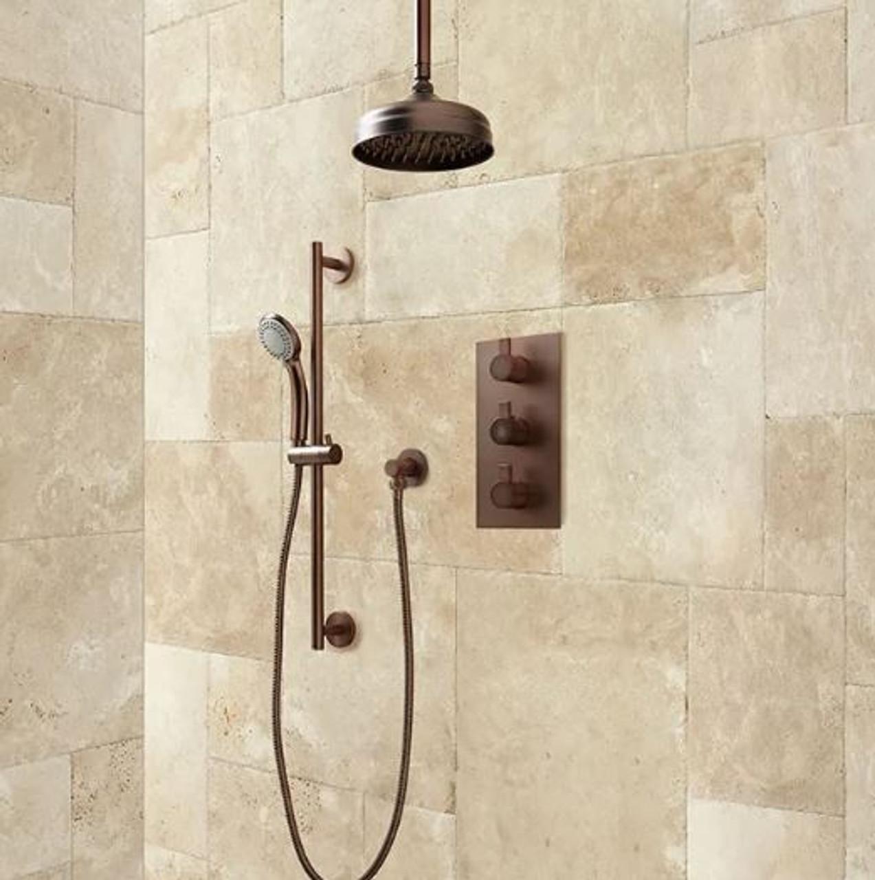 Signature Hardware Isola Thermostatic Shower System 12 Rain Shower Hand Shower Royal Bath Place