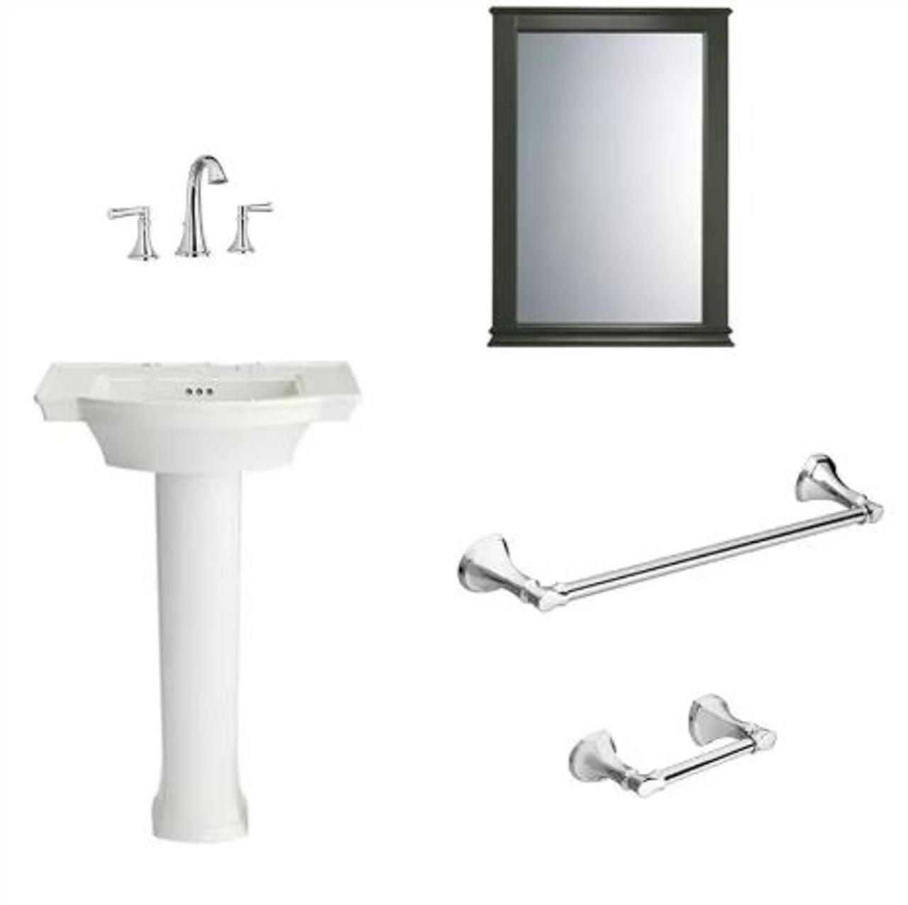 American Standard Estate Bathroom Package With 24 Pedestal Sink Widespread Bathroom Faucet Toilet Paper Holder 18 Towel Bar And Portsmouth Poplar Framed Mirror Royal Bath Place