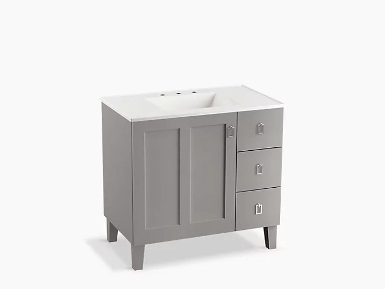 Kohler Poplin 36 Bathroom Vanity Cabinet With Legs 1 Door And 3 Drawers On Right Inmohair Grey Royal Bath Place