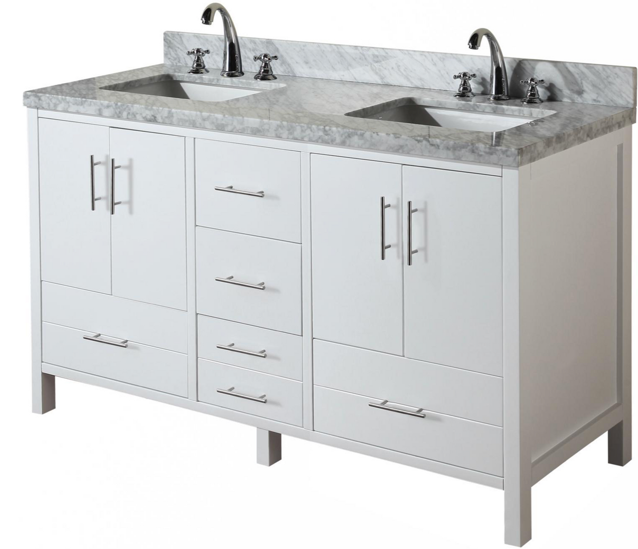 Ultra 60 Inch White Double Sink Bathroom Vanity New