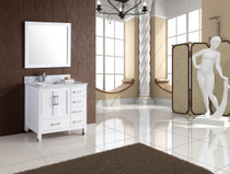 "Palmera 36"" White Bathroom Vanity Left Offset"