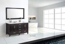 """Palmera 60"""" Espresso Double Sink Bathroom Vanity with Top"""