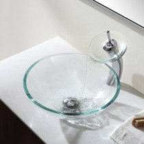 Glass Tray Waterfall Tall Faucet Chrome