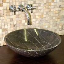 Large Brown Marble Over Mount Bathroom Sink