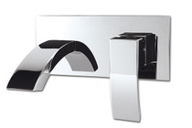 Rubi Wall mounted basin faucet with elongated spout and pop-up waste