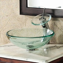Clear Glass Sink & Royal Faucet Combo