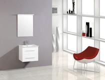 "Zoom 24"" White Wall Mount Bathroom Vanity"