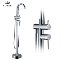 Contemporary Free Standing Tub Filler with Hand Shower
