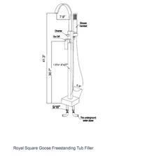 Royal Square Goose Freestanding Tub Filler Brushed Nickel