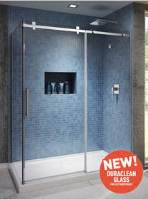 "ROLLAX  60''X36""X77'' Corner sliding shower door 2 panels 60''x77'' with return panel 36''x77''chrome clear glass"