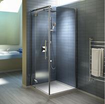 """KAMO 36""""X36''X77""""  Corner pivot shower door 2 panels clear glass"""