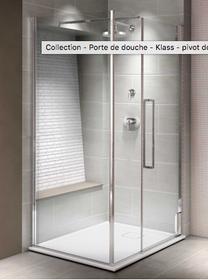 "KLASS 48""X80"" Pivot door for alcove shower, clear glass"