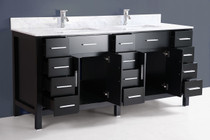 "Alexandria 72"" Espresso Bathroom Vanity w/ Quartz Top & Double Sinks *HOT DEAL"