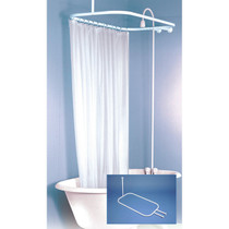 "Zenith | NeverRust™ Aluminum Hoop-Shaped Shower Rod, White 1"" x 57.8"","
