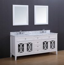 "Casa.  72"" White Double Sink Bathroom Vanity"