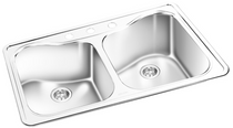 GEMINI Double Bowl Top Mount Kitchen Sink RNT 607