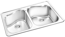 GEMINI Double Bowl Top Mount Kitchen Sink RNT 608