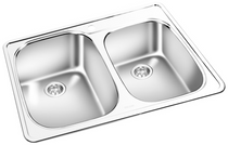 GEMINI Double Bowl Top Mount Kitchen Sink T 03