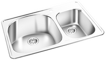 GEMINI Double Bowl Top Mount Kitchen Sink  T 07