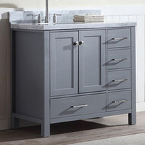 "Key West 40"" Gray Offset Left Sink Bathroom Vanity"