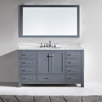 "Key West 60"" Gray Single Sink Bathroom Vanity"