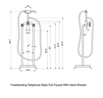Freestanding Telephone Style Tub Faucet with Handshower Brushed Nickel