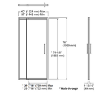 "Lattis® Pivot shower door, 76"" H x 57 - 60"" W, with 3/8"" thick Crystal Clear glass in Brushed Nickel"