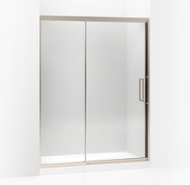 "Lattis® Pivot shower door, 76"" H x 57 - 60"" W, with 3/8"" thick Crystal Clear glass in Adonized Brushed Bronze"