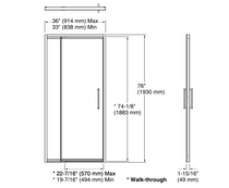 "Lattis® Pivot shower door, 76"" H x 33 - 36"" W, with 3/8"" thick Crystal Clear glass in Brushed Nickel"
