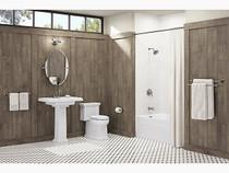 "Kohler Worth® two-handle 4"" centerset bathroom faucet in Vibrant Brushed Nickel"