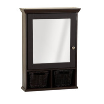 "Zenith Medicine Cabinet with Wicker Baskets, Espresso 20.75"" x 29"""