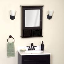 "Zenith Medicine Cabinet with Wicker Baskets, Espresso 20.75"" x 29"""