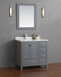 "Key West 44"" Gray Offset Left Sink Bathroom Vanity"