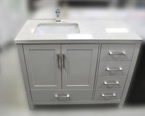 "Key West 44"" Gray Offset Left Sink Bathroom Vanity"