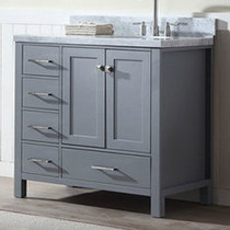 "Key West 40"" Gray Offset Right Sink Bathroom Vanity"