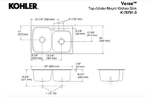 "Kohler | Verse™ 33"" x 22"" x 9"" top-/under-mount large/medium double-bowl kitchen sink with 3 faucet holes"