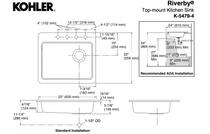 """Kohler   Riverby® 25"""" x 22"""" x 5-11/12"""" top-mount single-bowl kitchen sink"""