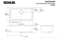 "Kohler | IronTones® 33"" x 18-3/4"" x 9-5/8"" top-/under-mount single-bowl kitchen sink"