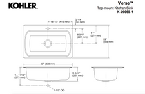 "Kohler   Verse™ 33"" x 22"" x 9"" top-mount single-bowl kitchen sink with single faucet hole"