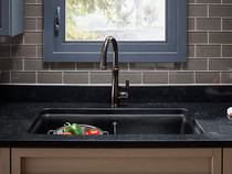 "Kohler |Cairn® 33-1/2"" x 18-5/16"" x 9-1/2"" Neoroc® under-mount double-equal kitchen sink with sink rack"