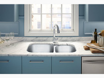 "Kohler   Undertone® Preserve™ 35-1/8"" x 20-1/8"" x 9-5/8"" under-mount extra large/medium double-bowl kitchen sink"