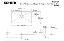 "Kohler | Strive® Self-Trimming® 35-1/2"" x 21-1/4"" x 9-5/16"" under-mount large single-bowl kitchen sink with tall apron"