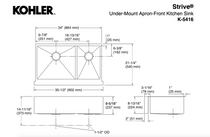 "Kohler | Strive® Self-Trimming® SmartDivide® 35-1/2"" x 21-1/4"" x 9-5/16"" under-mount large/medium double-bowl kitchen sink with tall apron"